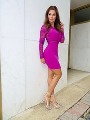 Time Will Tell Magenta Mini Dress With Lace Bodice