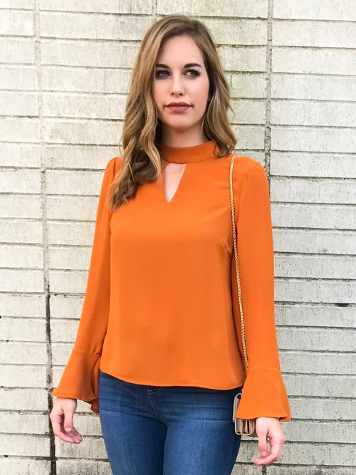 Amber V Neck Choker Long Sleeve Blouse