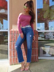 Not Your Mommas Jeans Mid Rise Distressed Crop Flare
