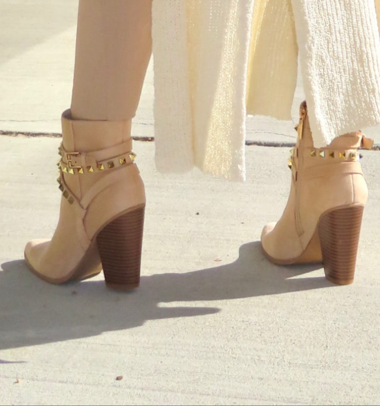Giddy Up Nude Suede Pointed Toe Bootie with Studded Buckle