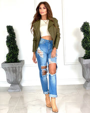 The Addison Medium Wash Super Distressed Jeans With Cuff