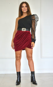 Close The Drapes Wine Velvet Mini Skirt