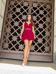 Big Deal Burgundy V Neck Circle Skirt Romper