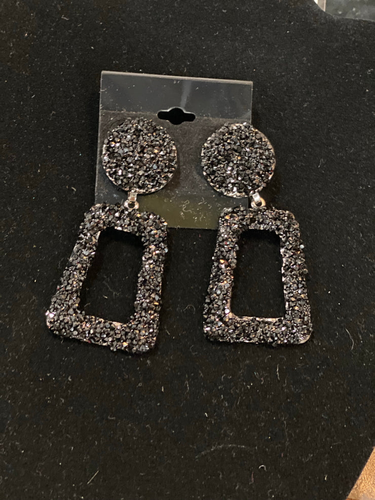Black Sparkly Beaded Square Earrings