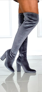 Steele Toe Grey Suede Thigh High Boots