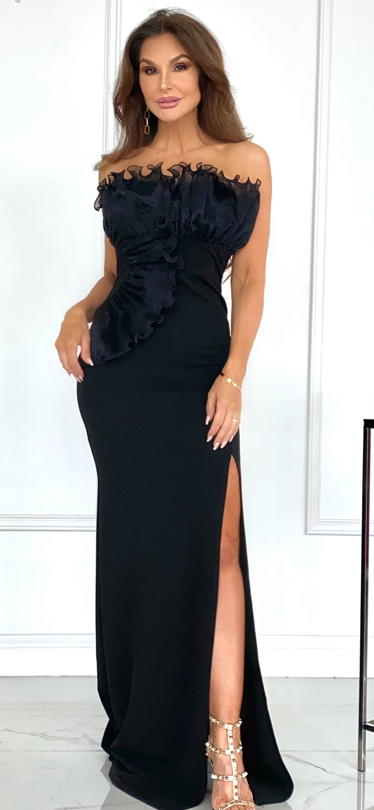 Dynasty Days Black Strapless Formal With Front Slit
