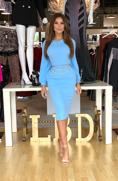 Hello Beautiful Baby Blue Midi Dress