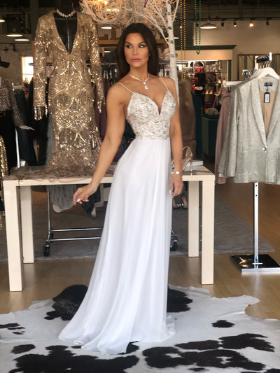 Fit For A Queen White Formal With Gold Bead Bodice