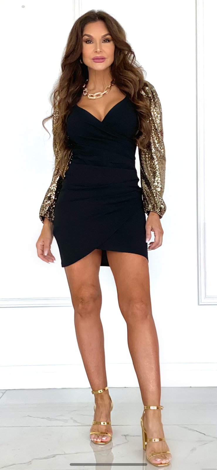 Let's Gold Black Dress With Gold Sleeve
