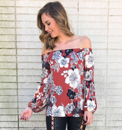 Rust Floral Off the Shoulder Soft Blouse
