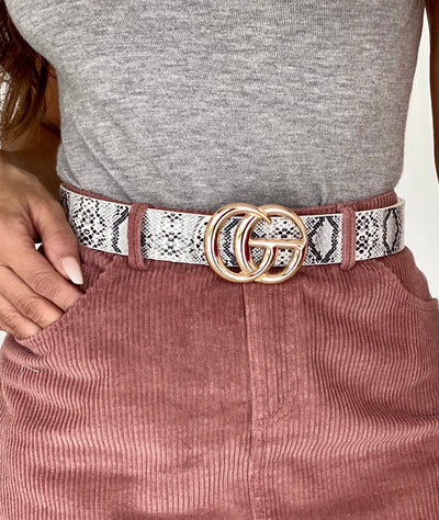 Snake Skin Grey CG Gold Buckle Belt