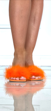 Powder Puff Orange Suede Mule