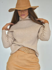 Mocha Me High Neck Sweater