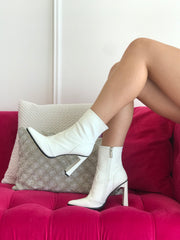 French Kiss White Patent Bootie
