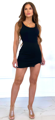 State Of Mind Black Mini Skirt With Front Slit