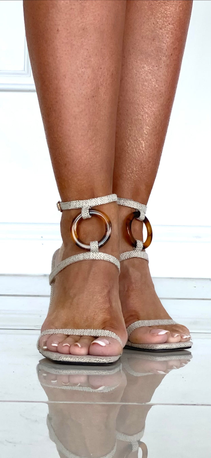 Michael Yours Nude Linen Like Shoes With Ball Heel