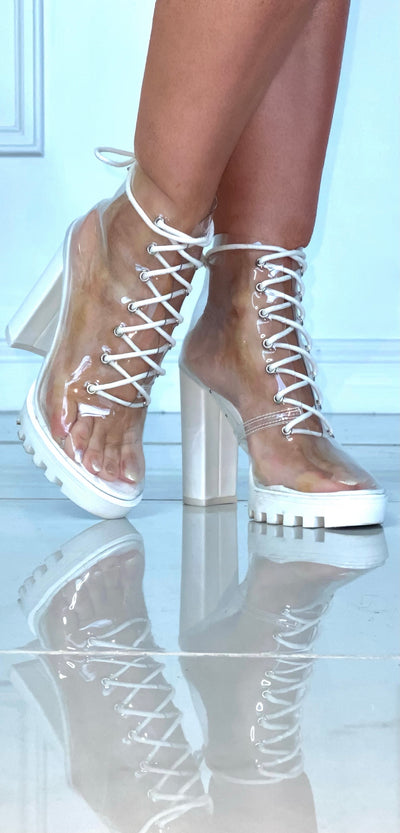 Street Smart Clear And White Lace Up Bootie