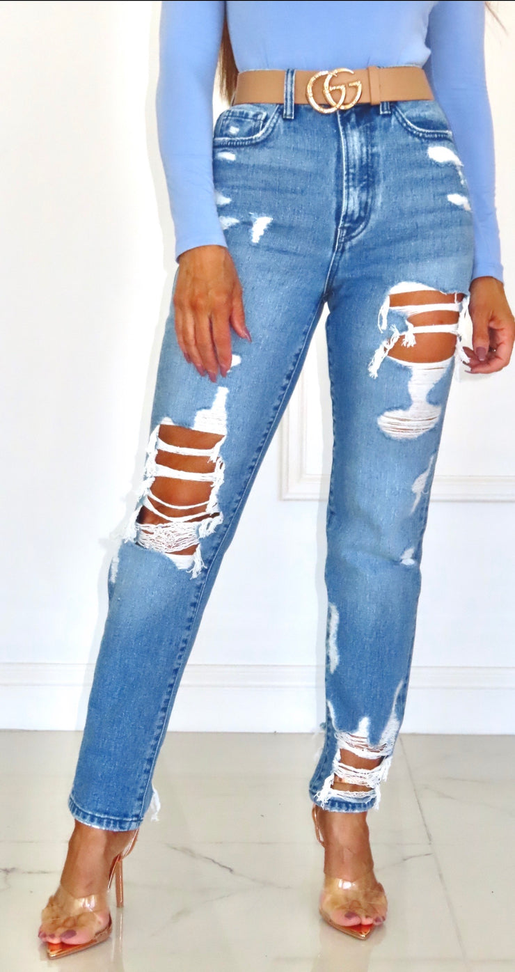Tattered But Strong Light Wash Mom Jeans