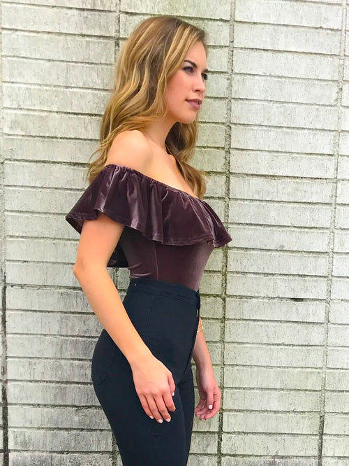 Sable Velvet Off the Shoulder Bodysuit