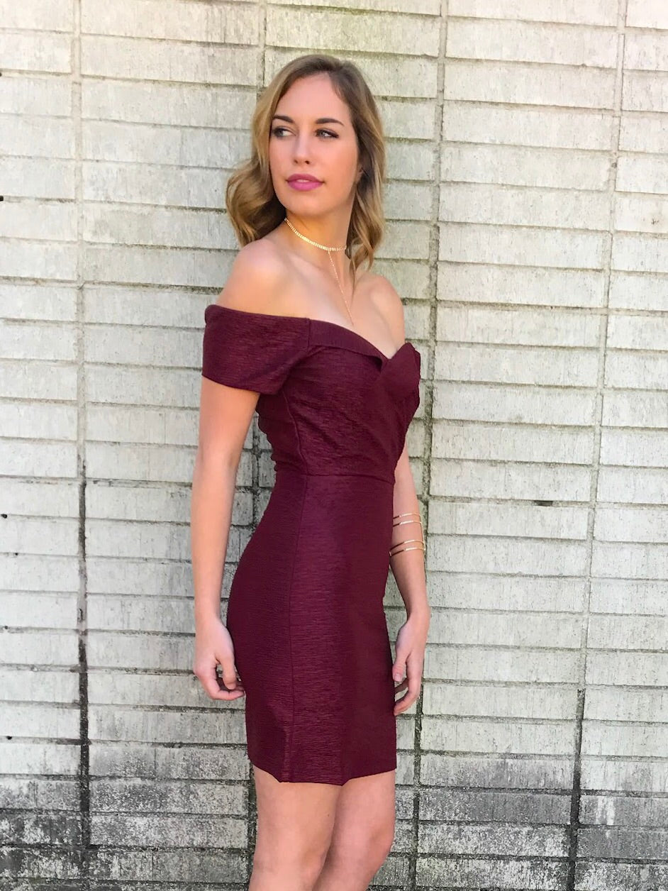 Wine Off the Shoulder Textured Dress