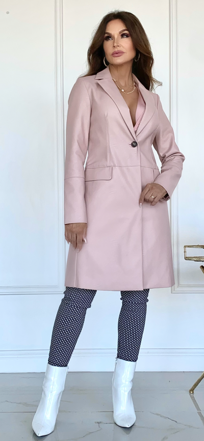 Chill Chick Pink Leather Coat