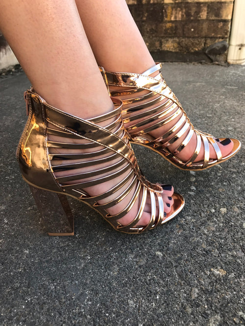 Rose Gold Strappy Bootie