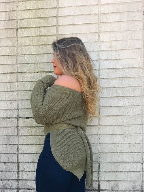 Light Olive Wrap Sweater