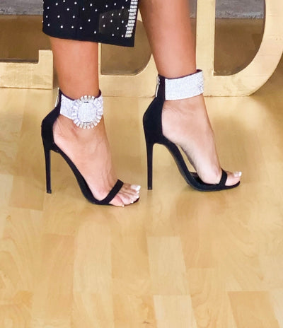 Extra Black Suede Rhinestone Broach Ankle Stiletto Shoe