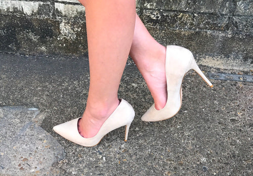 Nude Suede Pointed Toe Pump