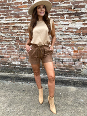 Coco Puffs Brown Suede Shorts