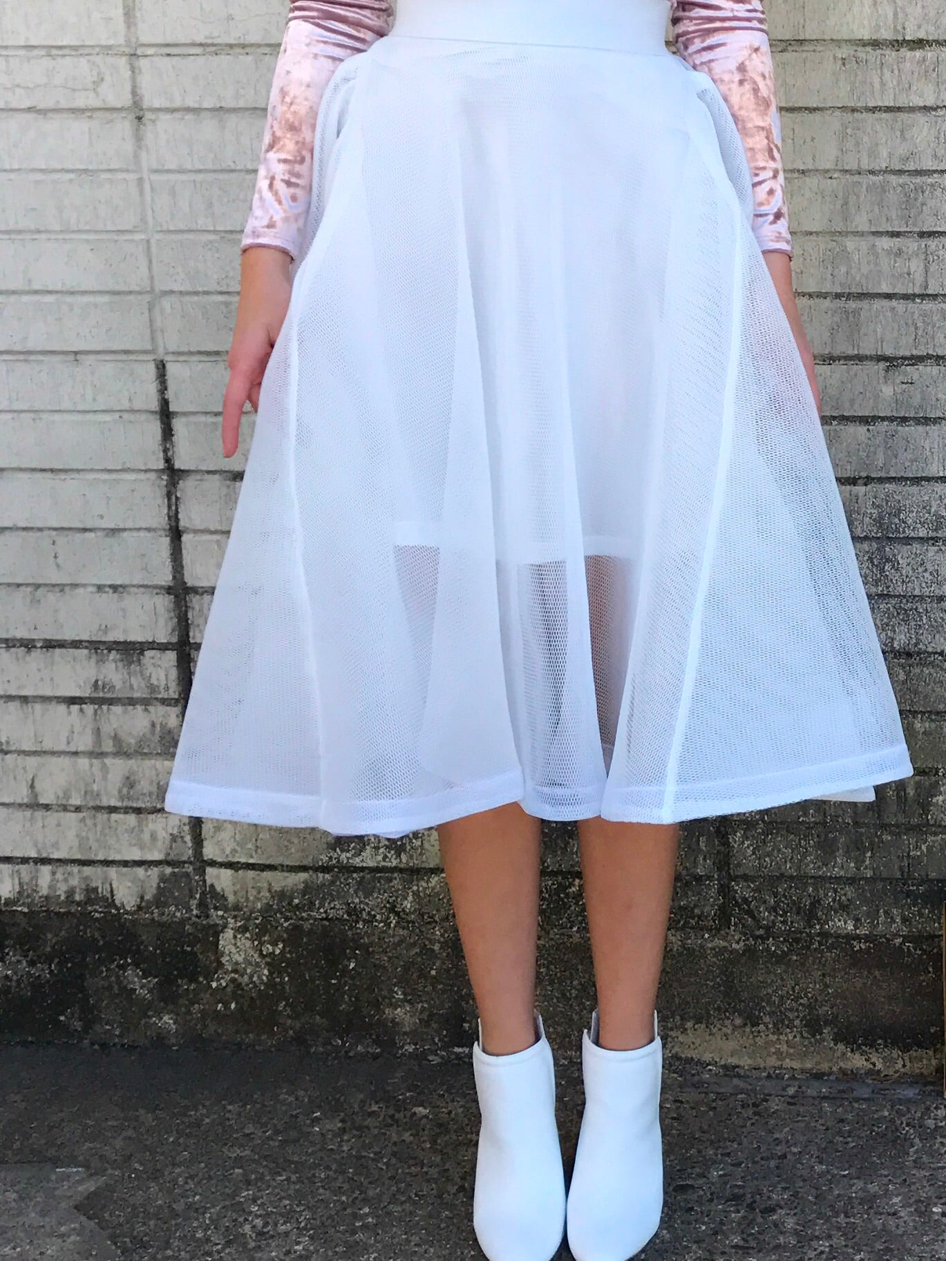 White Mesh Tea Length Bell Skirt