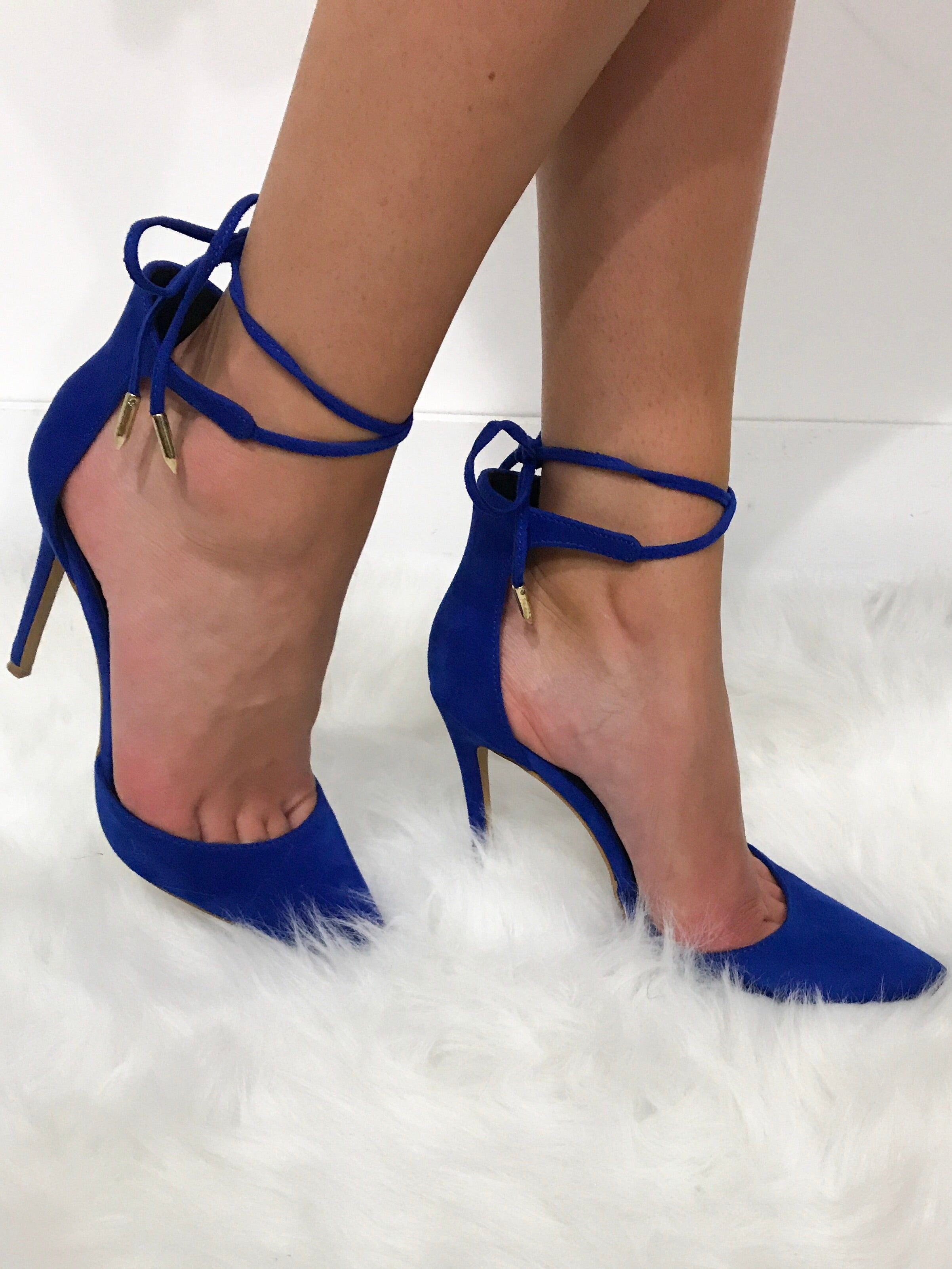 Royal Blue Suede Pointy Toe Pump with Ankle Tie