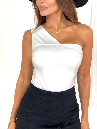 Sweet And Cheeky White One Shoulder Bodysuit
