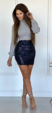 Night Fall Sequin Mini Skirt