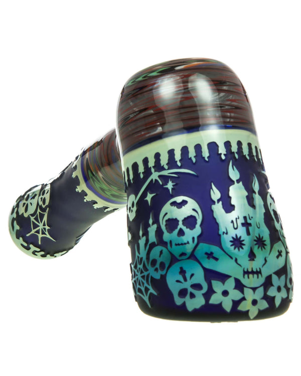 Cave Sandblasted Wig Wag Hammer Pipe by Liberty 503 Glass