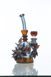 Blue Glass Flower Bong by Grog Glass