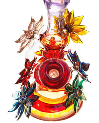 Flowered Dual Use Water Pipe by Grog Glass