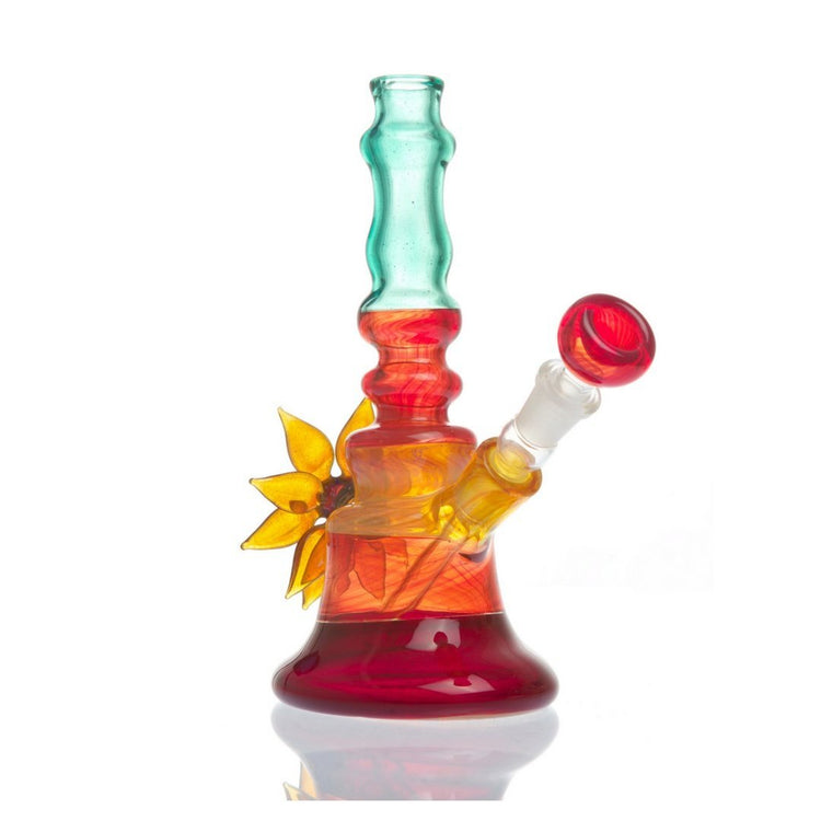 Multi Colored Water Pipe w/ Glass Flower by Grog Glass