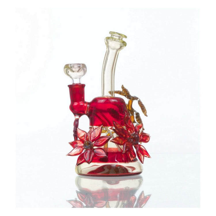 Red Double Flower Bong w/ Vine by Grog Glass