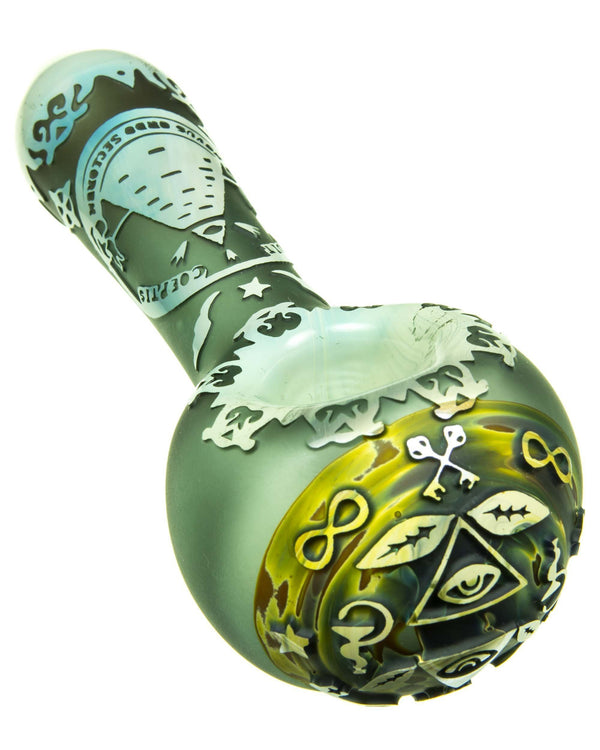 Flowers & Buglife Thoroughly Sandblasted Spoon Pipe by Liberty 503 Glass