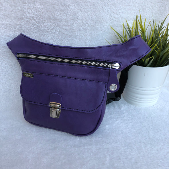 Mini Classic Purple & Silver · Piel natural BioCuir® · Pieza Exclusiva Núm. 8255