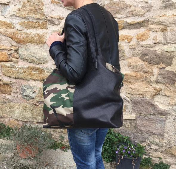 "Bolso Shopper · Lau&ang Bags · ""Camouflage"" Piel natural ECO FAST® Pieza Exclusiva"