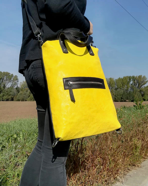 "Mochila-Bandolera · Lau&ang Bags · ""Yellow"" Piel natural ECO FAST® Pieza Exclusiva"