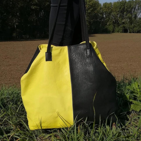"Bolso Shopper · Lau&ang Bags · ""Yellow&Black"" Piel natural ECO FAST® Pieza Exclusiva"