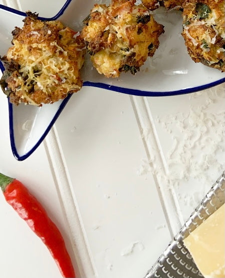 Recipe: Delicious Garlic Kale Crab Stuffed Mushrooms