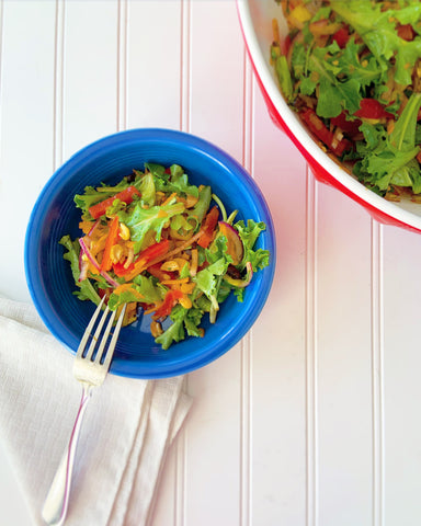 Blue bowl with salad