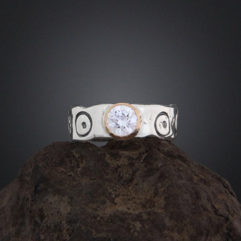Stamped Band with CZ in Gold Bezel Ring