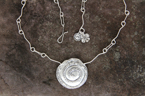 Sterling Silver Large Spiral Necklace
