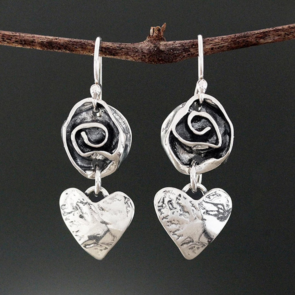 Sterling Silver Heart and Rose Earrings