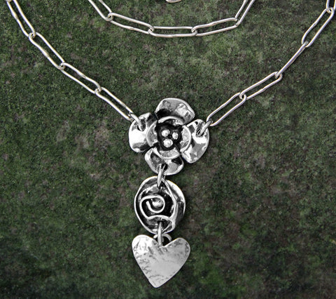 Sterling Silver Double Dogwood, Rose & Heart Necklace